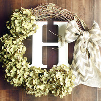 Monogrammed Green Hydrangea Grapevine Wreath with a Chevron Burlap Bow.