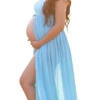 Mommy Jennie Blue Maternity Off Shoulder Tube Chiffon Gown Split Front Strapless Maxi Pregnancy Photography Dress for Photo Shoot and Baby Shower