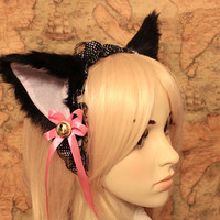 Black inner White CAT kitty ears LOLITA maid black by eshopmania