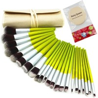 Style Master Pro Bamboo Handle Kabuki Makeup Brush Set Cosmetics Foundation Blending Blush Eyeliner Face Powder Brush Makeup Brush Kit (23pcs, Green)