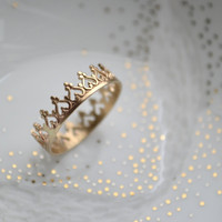 14K solid gold There is no queen without a crown ring SIZE 8-12