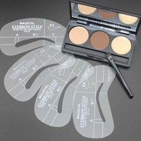 NEW 3 Color Eyebrow Shaping Powder + Eyebrow Wax Palette + 4 Stencils Makeup Kit Cosmetics (Size: 1) [8096936071]