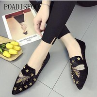 POADISFOO 2018 Women's Fashion Loafers Flats Slip-On Animal Print Casual Spring metal buckle embroidery suede shallowly .FLT-811