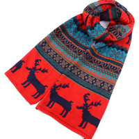 Red Snowflake and Elk Knitted Scarf