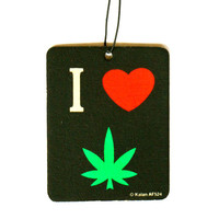 I Love Hemp Leaf Strawberry Scented Car Freshener
