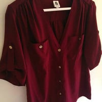 Burgundy Silk Style Shirt With Gold Buttons (Small/Indie Brands)