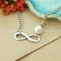 by (Umonster) Infinity necklace- bridesmaid gift - pearl infinity necklace, gift for BFF, wife and girlfriend