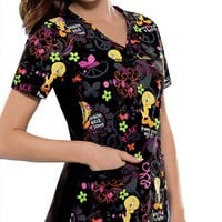 Buy Flexibles Women Tweet Me Wight V-Neck Scrub Top for $22.45