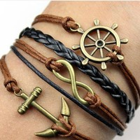 Infinity, Anchors, Rudders Braided Leather Bracelet