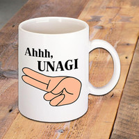 Ahhh, UNAGI, Quote Mug made famous by Friends TV Show, Funny Quotes, TV Quotes, Ceramic Coffee Mug, Hot Drinks, Morning Coffee Lovers