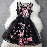 Organza Summer Dress Prom Party Flower Embroidery Casual Dress