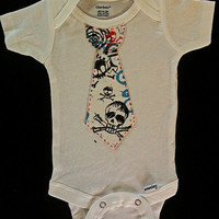 Cute Baby boy gift fashion skull Tie Onesuit, black,blue,red, Different size Onesuits available. Great for Photos.
