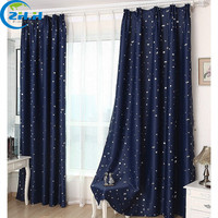 2015 Hot 5 Color Flat Windows Blackout Curtains Silver Star Curtains Children Draperies Living Room Bedroom Free Shipping