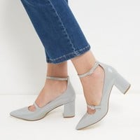 Grey Patent Pointed Ankle Strap Heels