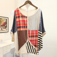 Ethnic Contrast Pattern Batwing Loose T-shirt