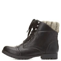 Qupid Sweater Collar Combat Booties by Charlotte Russe - Black