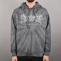 Thrasher Silver Flame Tie Dye Pullover Hoodie - Silver - Thrasher from Native Skate Store UK