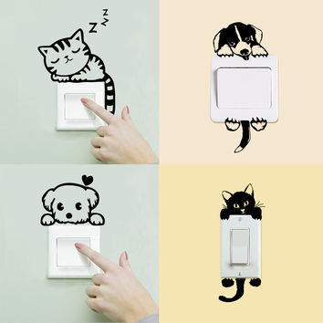 DIY Funny Cute Cat Dog Switch Panel Stickers Waterproof Wall Stickers Home Decoration Kids&Baby room Bedroom Parlor Decoration