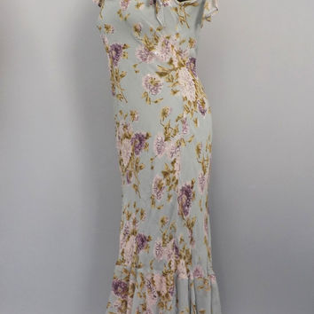 Vintage 90s does 1920's Lawn Dress Majick Size Small Petite Rayon Summer Sun Dress Romantic Gown Pale Blue Floral Easter Dress Beaded