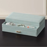 Faux Leather Valet Jewelry Organizer in Mint