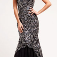 Black Scalloped Sequin Strapless Mermaid Dress 2015 Prom Dresses