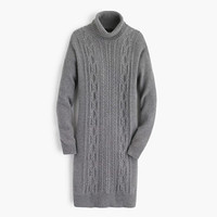 Cable turtleneck sweater-dress