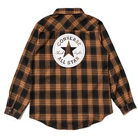 Converse Tide brand retro women's loose plaid shirt Brown