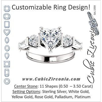 Cubic Zirconia Engagement Ring- The Sarah (Customizable 5-Stone Baguette Channel)