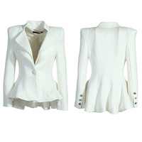 Women White Black Casual Suit One Button Blazer Jacket Swallowtail Style Hot = 1931774660