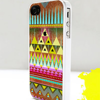 iPhone Case for iPhone 4 or 4S -- Geometric Aztec Pattern Orange Pink and Blue - Plastic or Silicone Rubber Case