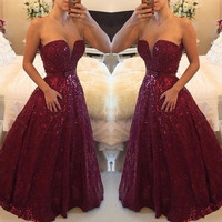 Lace Dark Red Prom Dresses 2016 A-Line Pearls Floor Length Long Open Back Prom Evening Gowns vestido formatura Longo