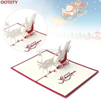 Card Christmas Decorations 3D Pop Up Holiday Greeting Cards Santa's Sleigh Deer Thanksgiving Gift #H0VH#