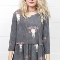 Floral Crown Cow Skull Smocked Peplum Top {Charcoal Mix}