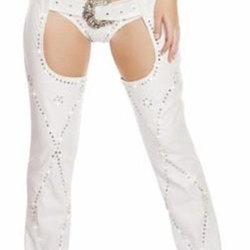 Sexy Cut Out Chaps Adjustable Buckle Rhinestone Chaps
