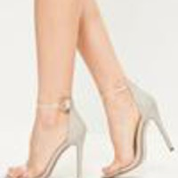 Missguided - Grey Clear Rounded Strap Barely There Heels