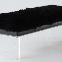 Luxe Black Sheepskin Fur Lucite Bench