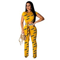 Fendi Fashion New Summer More Letter Print Sports Leisure Top And Pants Two Piece Suit Women Yellow