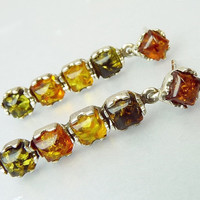 Sterling Silver Baltic Amber Pierced Earrings Multi Color Amber