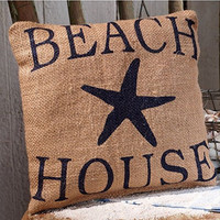 Beach House with Starfish - Burlap Accent Pillow - 8-in x 8-in
