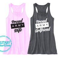 Custom Army Wife Racerback Tank Top, Army Girlfriend shirt, Army Mom shirt, Army Sister shirt, Army Fiance shirt