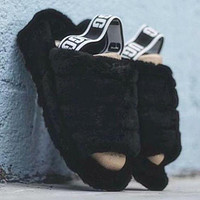 """UGG"" Hight Quality Trending Women Stylish Fluff Yeah Slippers Shoes Black I/A"