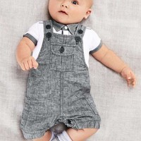 Baby Boys Short Sleeve T shirt And Overalls Set