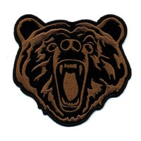 """Embroidered Iron On Patch - Roaring Brown Bear 4"""" x 3.5"""" Patch"""