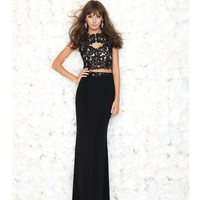 Black Lace Two Piece Crop Top Dress Prom 2015