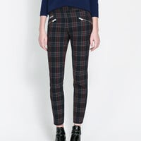 CHECKERED SKINNY TROUSERS WITH ZIP - Coats - Woman | ZARA United States