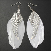1 Pair Retro Lady Women Angel Wings Feather Earrings Ear Stud Alloy Jewelry (Color: White) = 1945829444