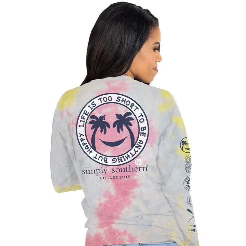 Image of Simply Southern Life Is Short Happy Tie Dye Long Sleeve T-Shirt