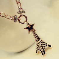 Stars, Eiffel, the Eiffel Tower, retro, clavicle chain, rose gold, silver necklaces, diamond, black drip glaze, nice necklace, best gift
