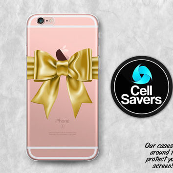 Gold Bow Clear iPhone 6s Case iPhone 6 Case iPhone 6 Plus Case iPhone 6s Plus iPhone 5c Case iPhone 5 Clear Case Girly Bow Lacy Pretty Cute