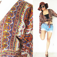 Vintage 70's reversible upcycled reproduction ethnic native tribal hippie bohemian boho indian print brown tie front blouse